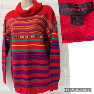 🗝Vintage 80's Red Striped Cowl Neck Sweater